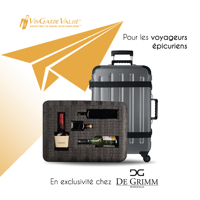 At last a suitcase to safely travel with your precious wine. VinGardeValise exclusively in Bordeaux at De Grimm