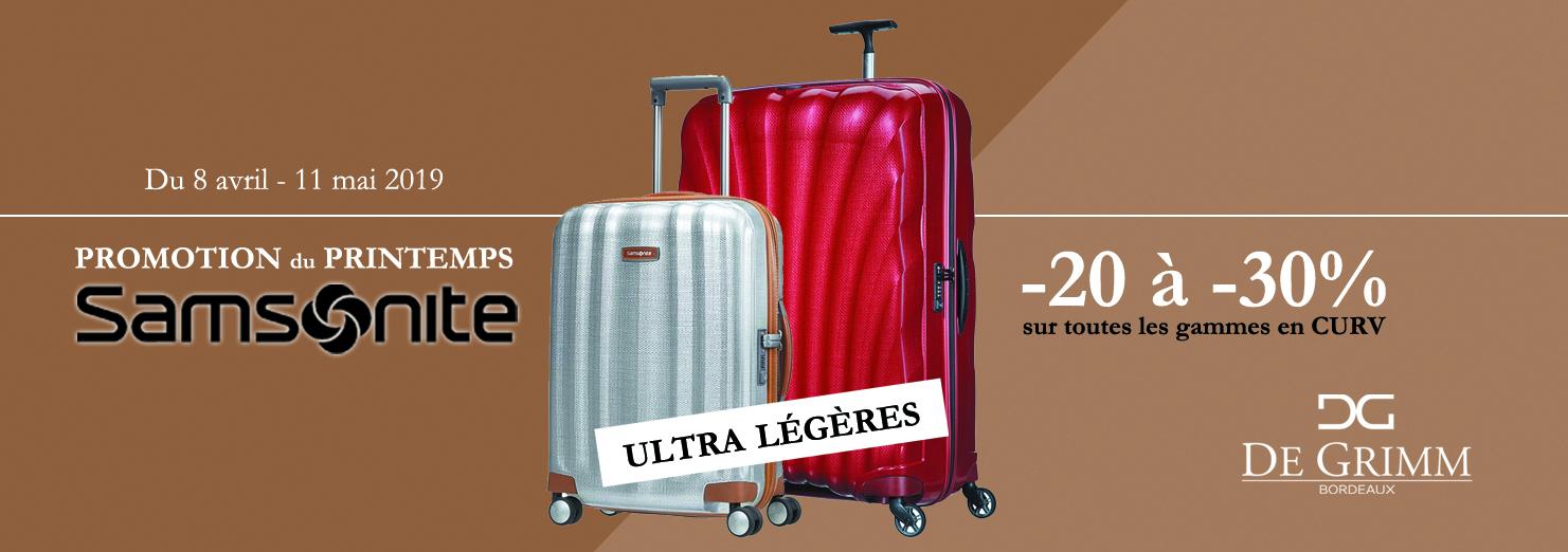 Promotion sur les valises ultra solides et ultra légères Samsonite Curv